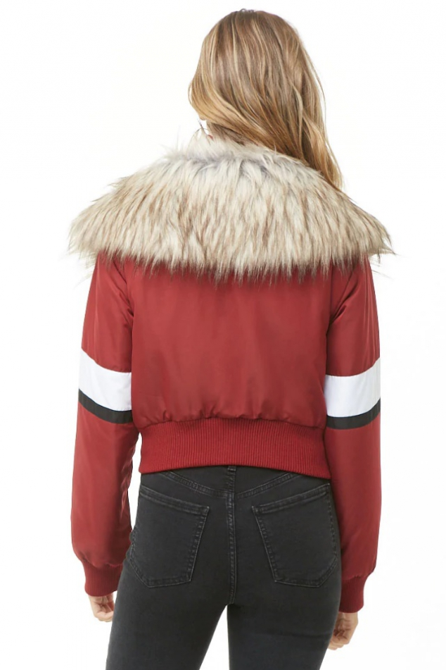 Faux Fur-Trim Padded Jacket - Image 3