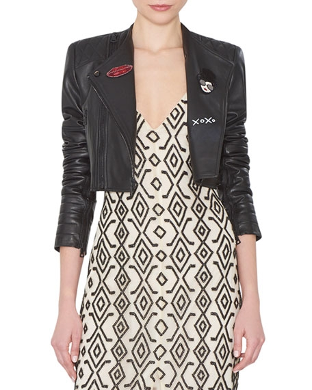 Fin Cropped Leather Multi-Zip Moto Jacket