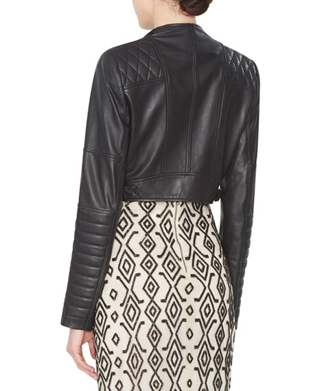 Fin Cropped Leather Multi-Zip Moto Jacket - Image 2