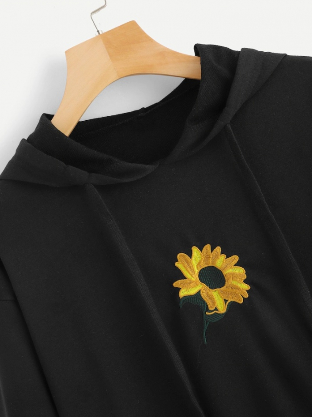 Floral Embroidery Hooded Sweatshirt - Image 3