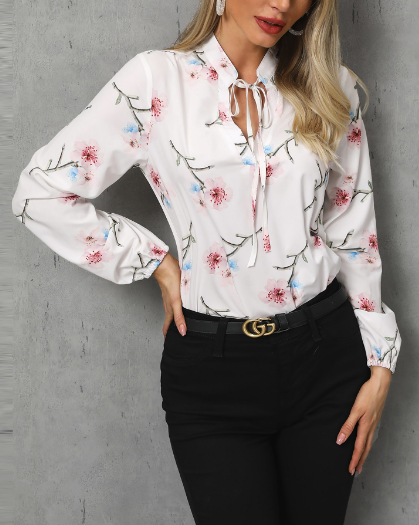 Floral Print Tied Detail Casual Blouse - Image 3