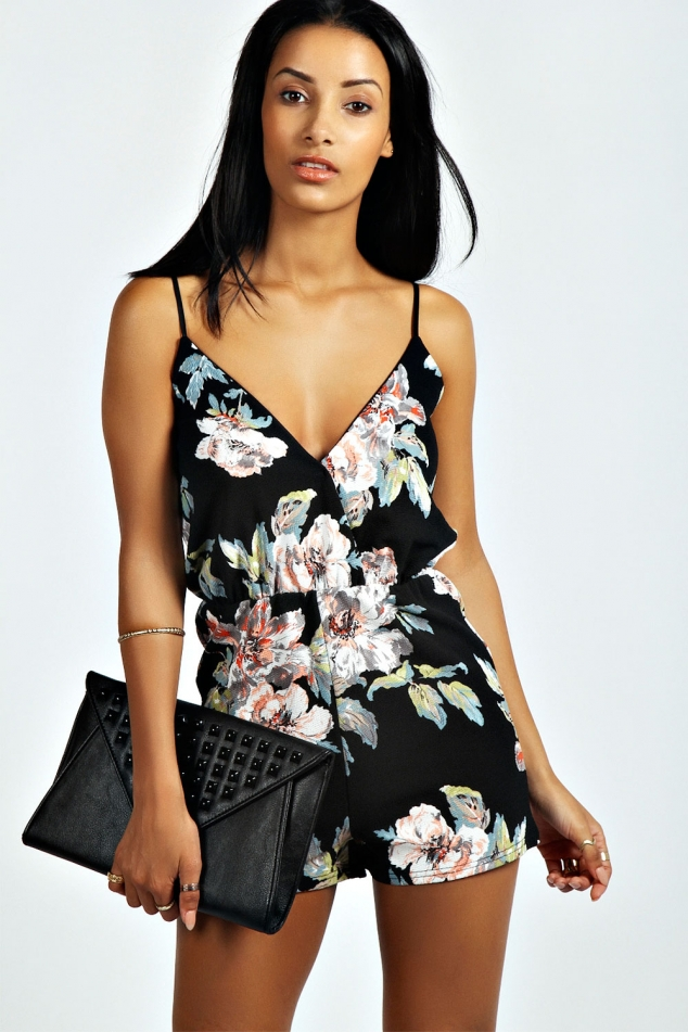 Francesca Floral Print Playsuit by boohoo