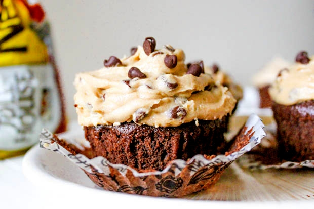 Fudge Brownie Cupcakes with Cookie Dough Frosting in CUP CAKE IDEAS