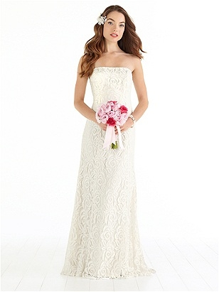 Full-length strapless lace wedding dress