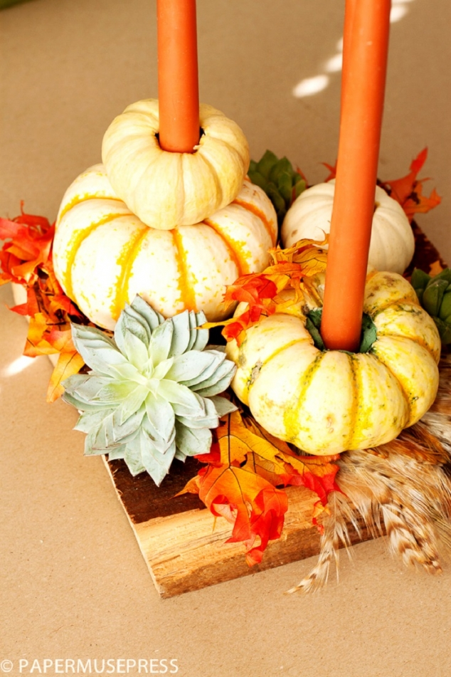 Gourds candle thanksgiving centerpiece favething
