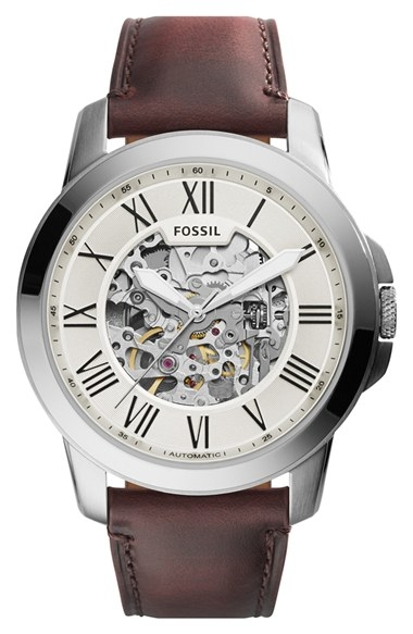 'Grant' Automatic Leather Strap Watch by Fossil