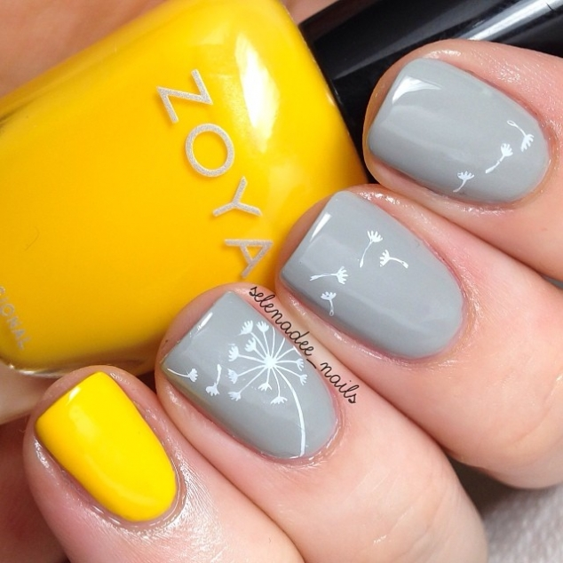 Grey Yellow Nails With Dandelion Design Favething Com