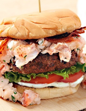 Grilled Burger with Lobster and Bacon