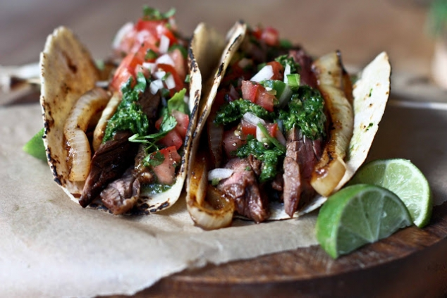 ... with tomatillo and steak sauce skirt steak tacos with spicy sour cream