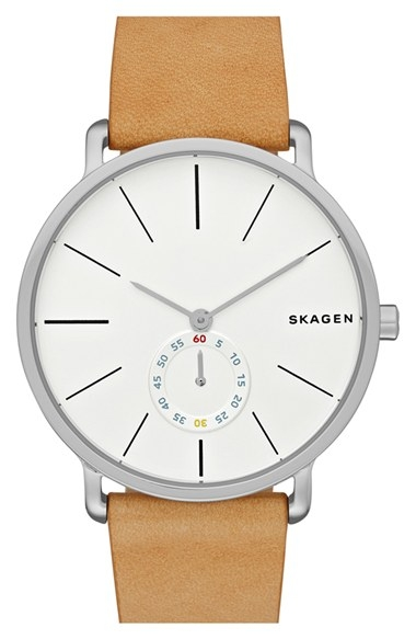 'Hagen' Leather Strap Watch by Skagen