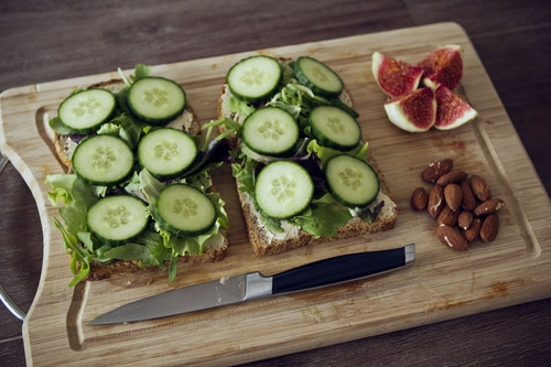 Healthy sandwich with nuts and fruit
