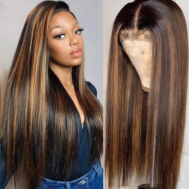 Highlight Lace Front Wigs Brazilian Straight Hair-AshimaryHair.com
