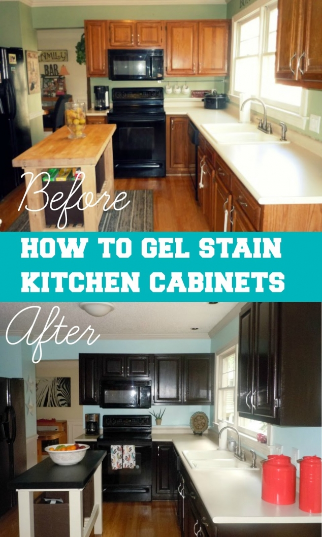 How to gel stain your kitchen cabinets in diy projects