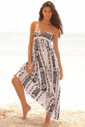 Indah Flamingo black & white Maxi Dress