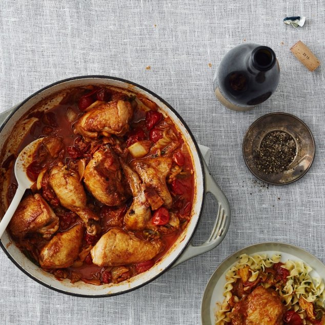 Kimchi-Braised Chicken with Bacon