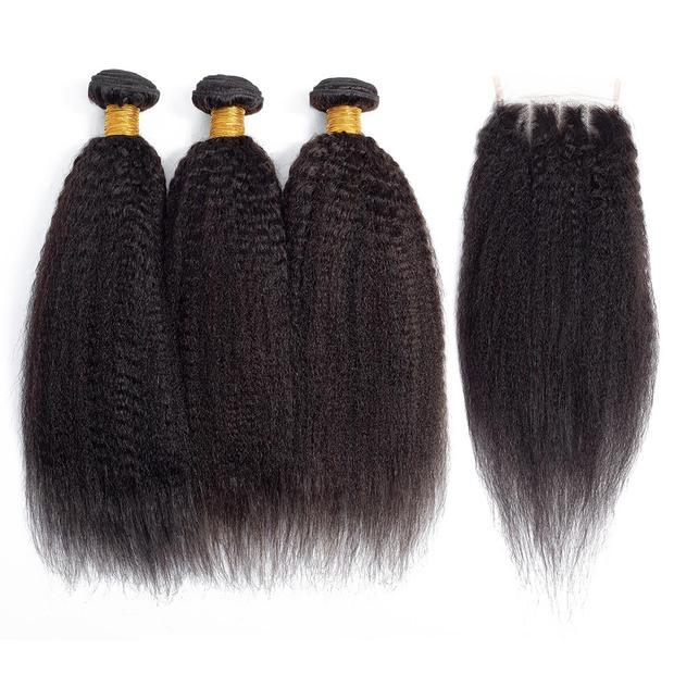 Kinky Straight Hair Weave Bundles Yaki Straight Human Hair -AshimaryHair.com