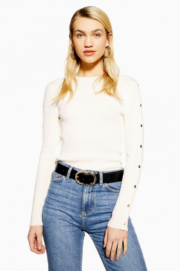 Knitted Button Sleeve Top