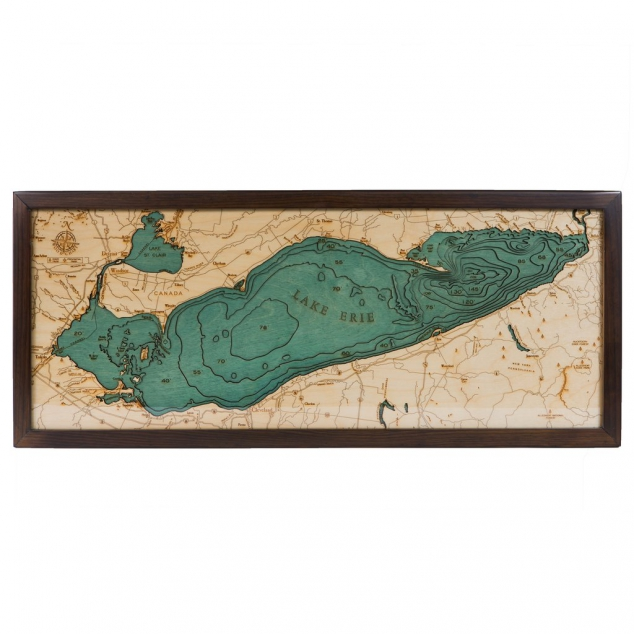 Laser-cut Bathymetric Chart of Lake Erie in Baltic Birch Wood