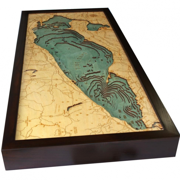 Laser-cut Bathymetric Chart of Lake Erie in Baltic Birch Wood - Image 2