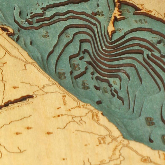Laser-cut Bathymetric Chart of Lake Erie in Baltic Birch Wood - Image 3