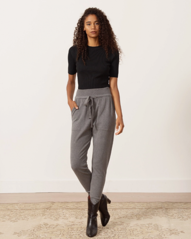 Leslie Tie-Front Knit Sweatpants