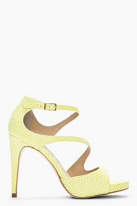 Lime Green Snakeskin Jujette Heeled Sandals