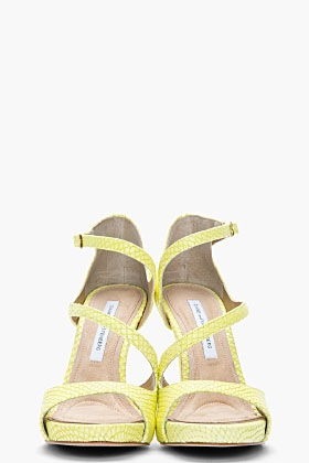 Lime Green Snakeskin Jujette Heeled Sandals - Image 3