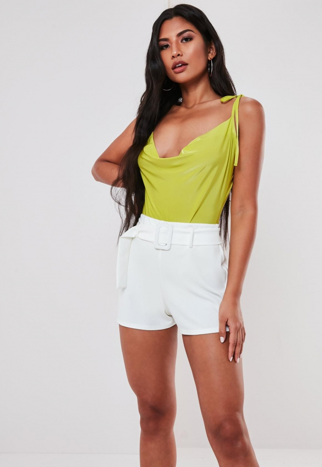 Lime Slinky Tie Strap Cowl Front Bodysuit