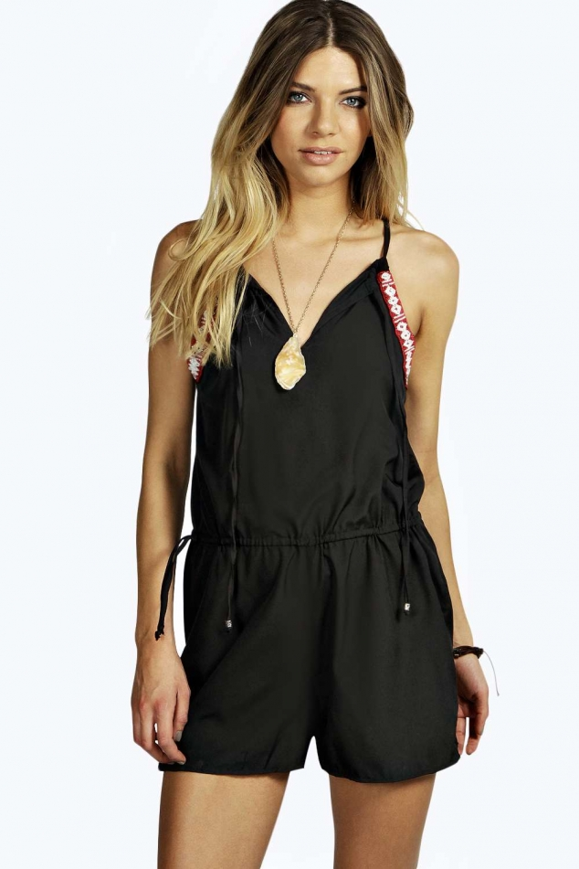 Lizzie Aztec Embellished  Crepe Playsuit