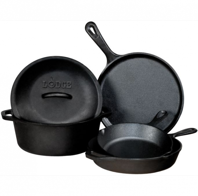 Lodge Five-Piece Cast-Iron Cookware Set