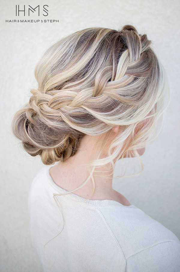 Loose braided updo hairstyle