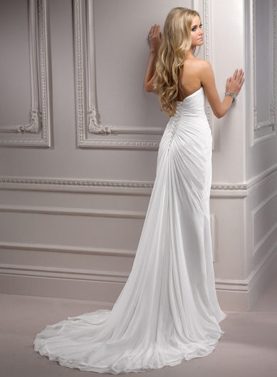 Maggie Sottero Ivory Ruched Chiffon Strapless Destination Wedding Dress