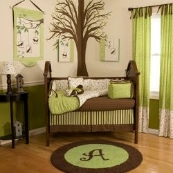 Lime Green And Brown Themed Nursery