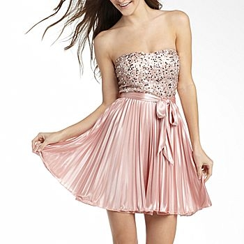 Sequin-Detailed Strapless Dress
