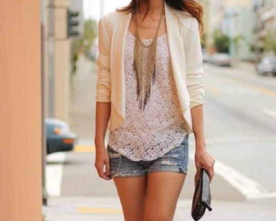 Great way to dress up worn jean shorts