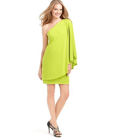 One-Shoulder Long-Sleeve Draped A-Line