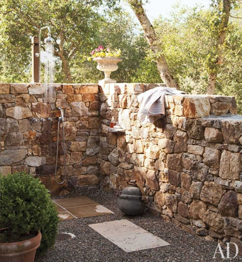 Perfect outdoor shower for Outdoor rock shower