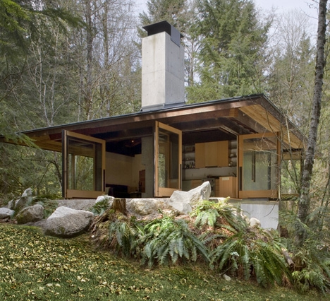 small wood concrete cabin