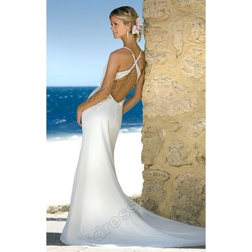 Criss cross back beach wedding dress for Cross back wedding dress
