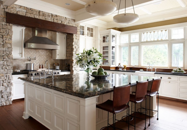 Wonderful large square kitchen island for Huge kitchen designs