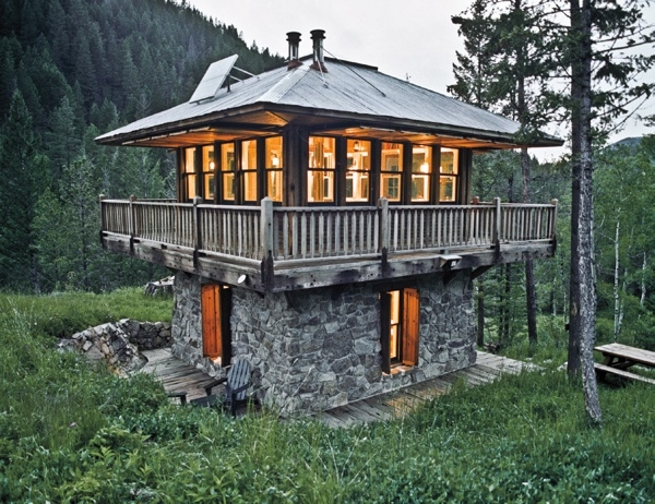 Stone Two Story Lookout Small Cabin