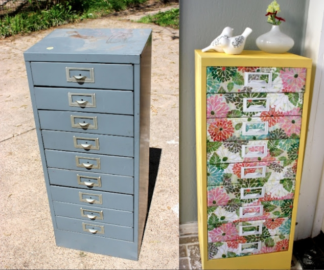 Awesome filing cabinet makeover! This certainly brightens up the room ...