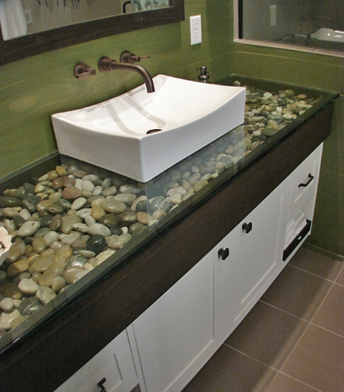 glass counter top with rock fill favething com