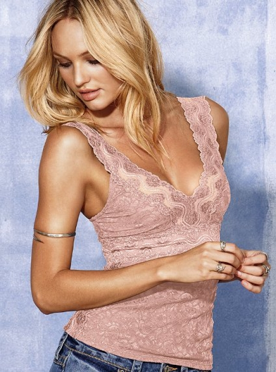 91ade0a2d353a3 Lace V-neck Tank in Pink Posey - FaveThing.com