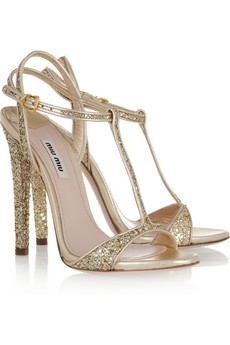 Glitter-finish leather sandals