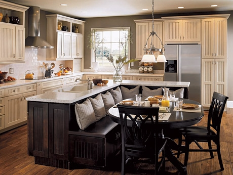 Kitchen Island Combined With Bench Seating To Create A Breakfast Nook.