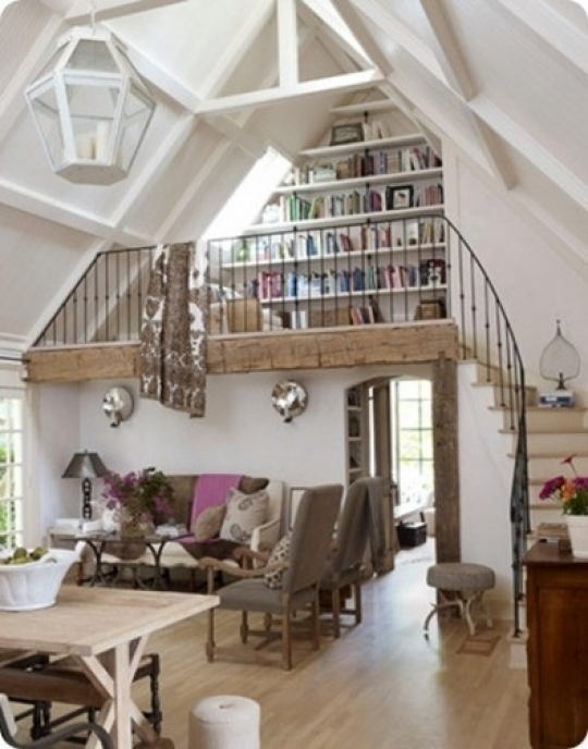 Small library and reeding nook in loft for Small barn with loft