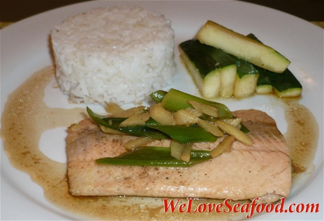 Salmon with Ginger and Scallions