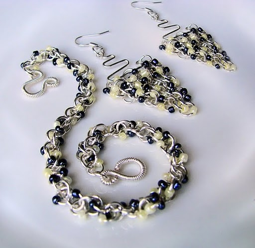 chain maille bracelet and earrings