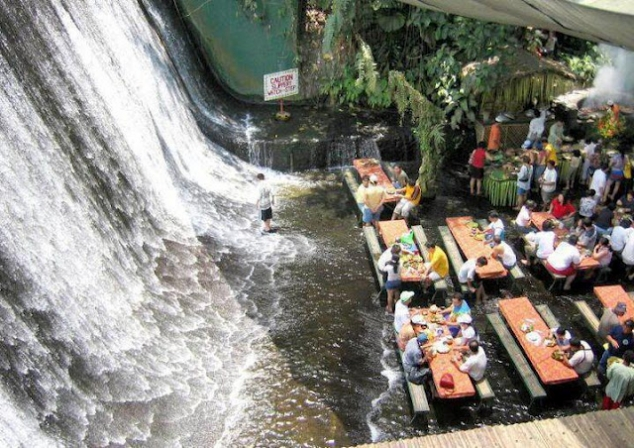 Waterfall restaurant in the Village of Escudero
